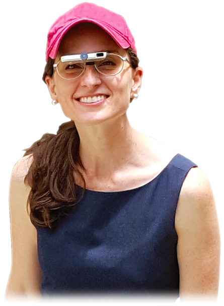 Woman wearing red hat and Ocutech silver VES-Explorer bioptic